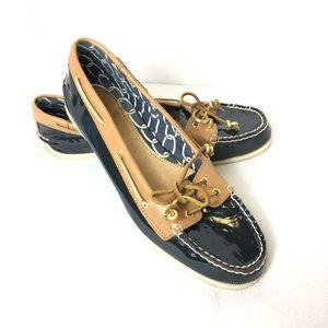 Sperry Topsider Boat Shoe Flats navy patten Sz 9